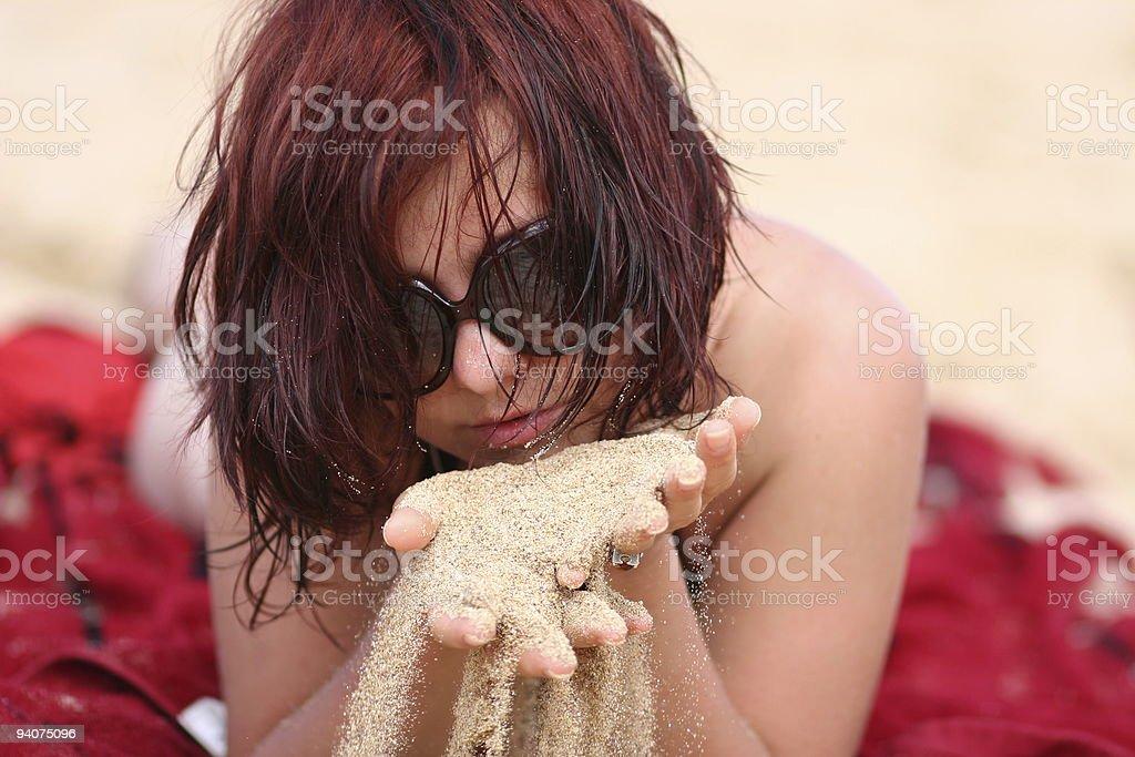Sexy girl on a beach stock photo