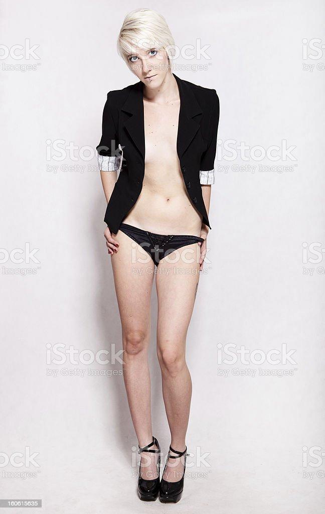 Sexy girl posing on white background royalty-free stock photo
