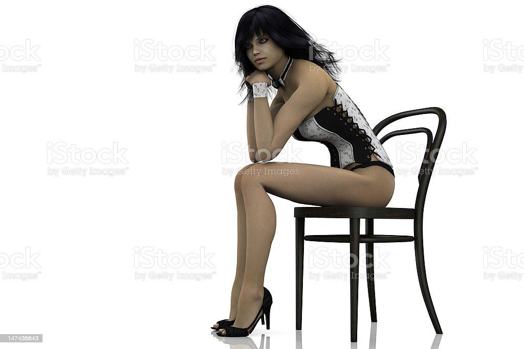 sexy girl sitting stock photo