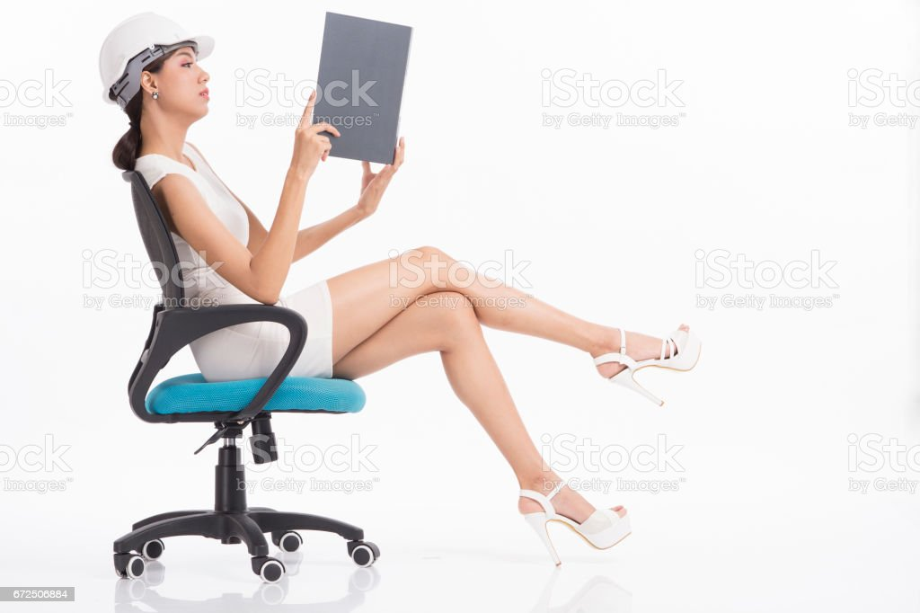 Sexy girl structural engineer stock photo