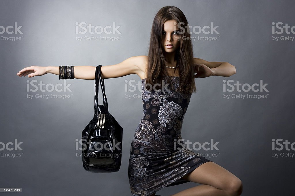 sexy girl with a bag stock photo