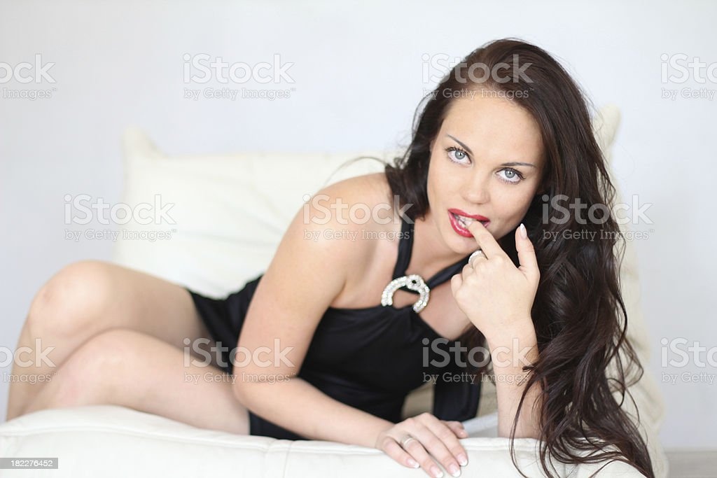 Sexy girl with beautiful long brown hair royalty-free stock photo