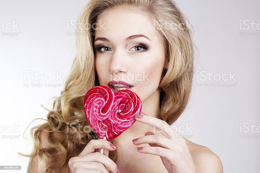 Sexy girl  with candy royalty-free stock photo