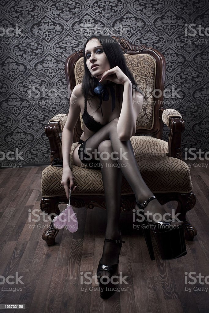 Sexy girl with heart royalty-free stock photo