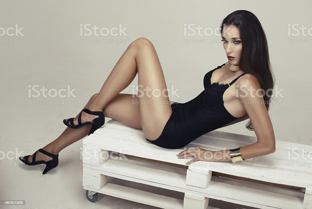 sexy girl with long legs stock photo