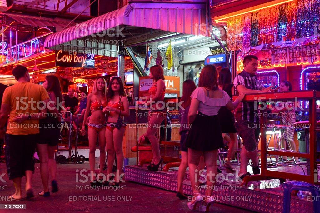 Sexy girls along Soi Cowboy, Bangkok stock photo