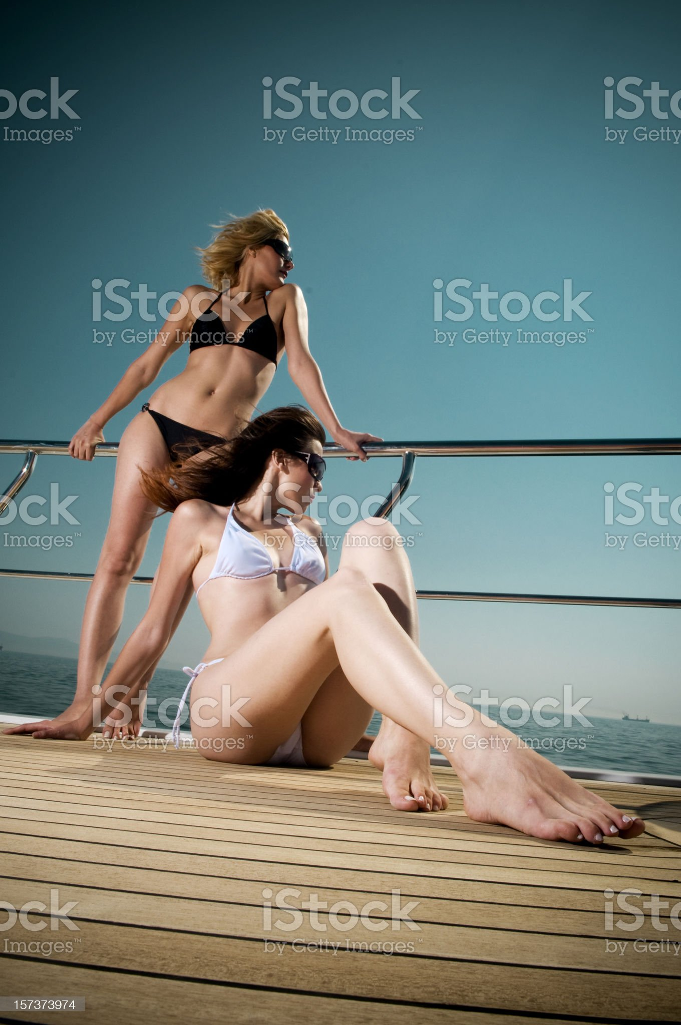 sexy girls on the boat royalty-free stock photo