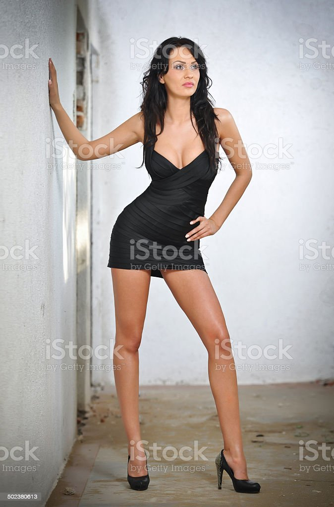 Sexy gorgeous young woman with high heels stock photo