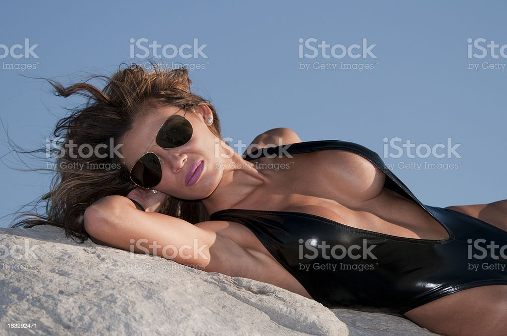 Sexy Hot Woman on the Jetties with Sunglasses stock photo