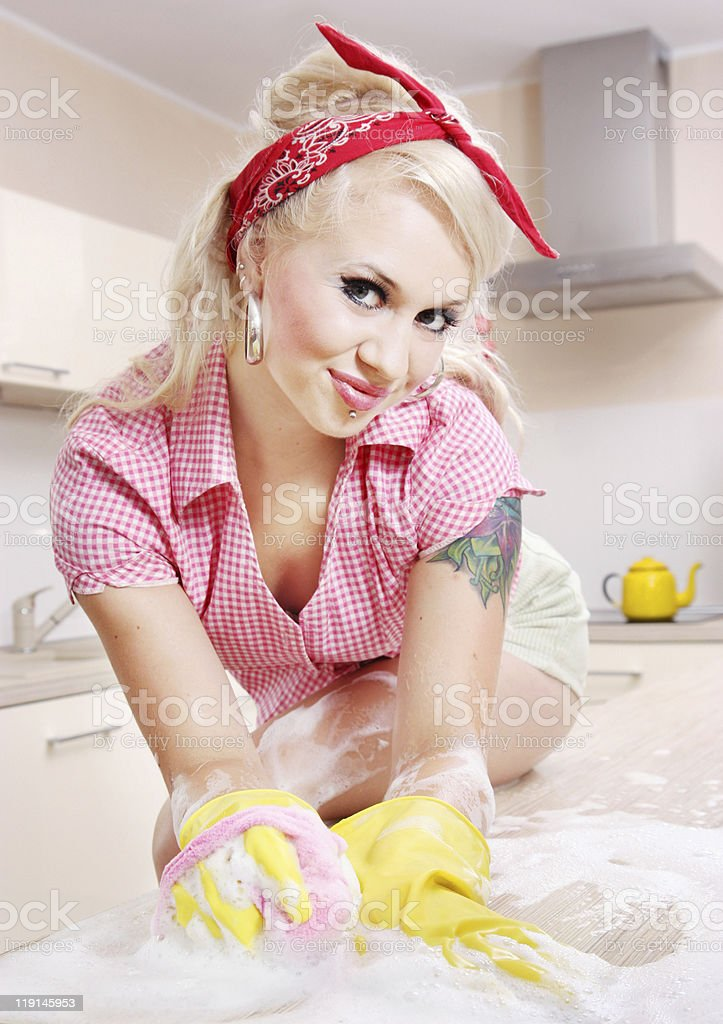 Sexy housewife royalty-free stock photo