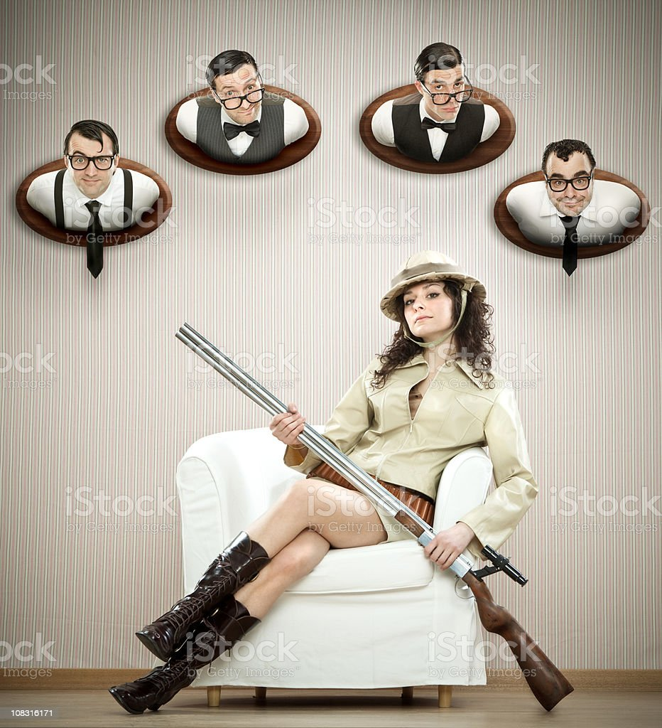 sexy hunter with her hunting trophies royalty-free stock photo
