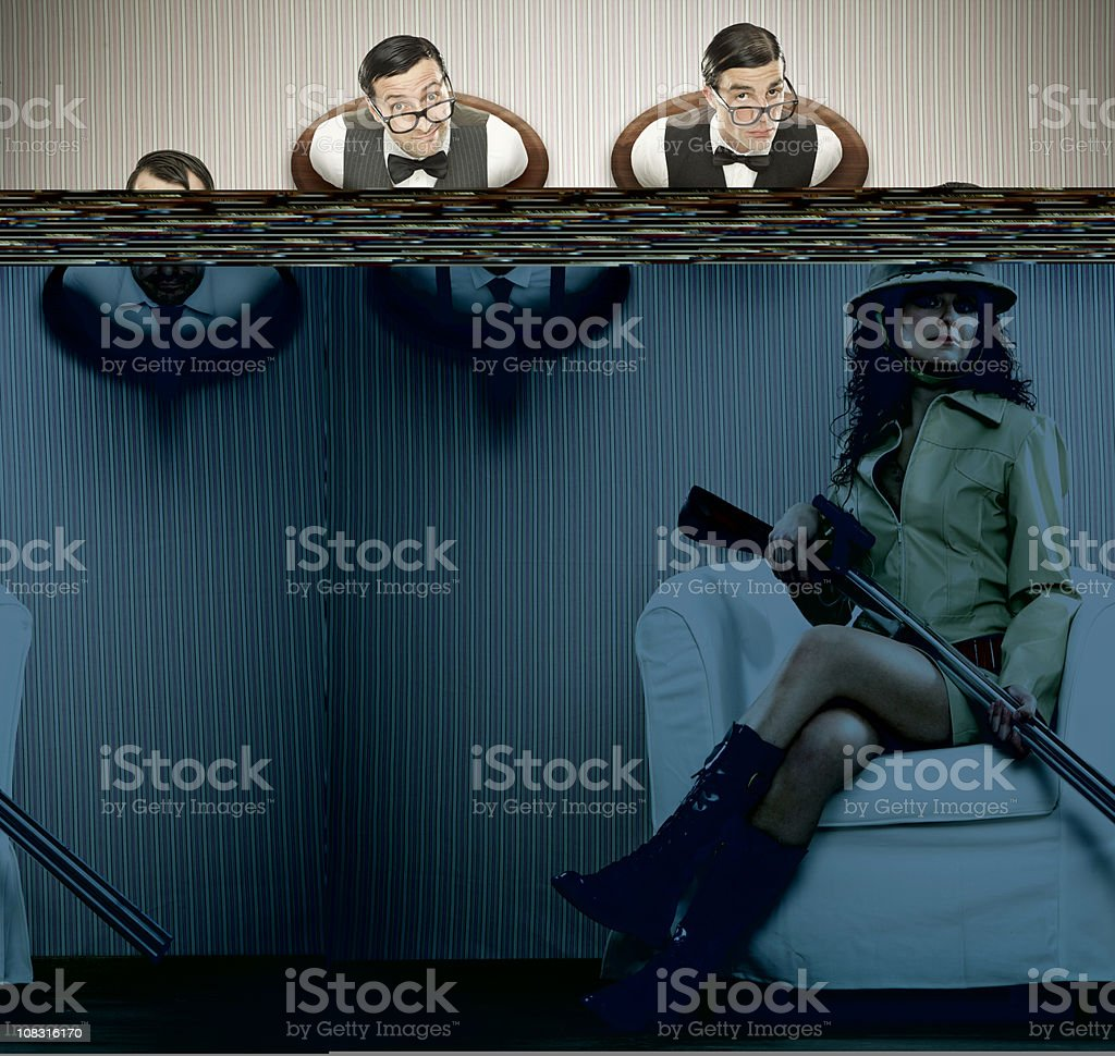 sexy hunter with her nerd Hunting trophies royalty-free stock photo