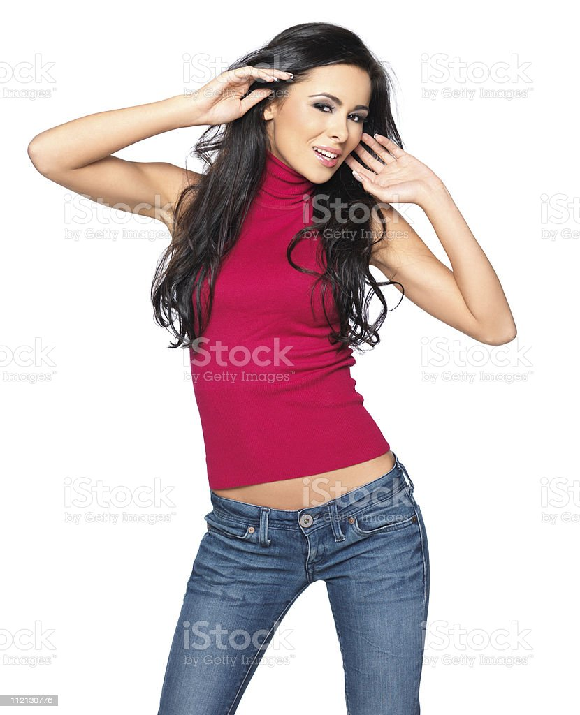Sexy in Red Shirt stock photo