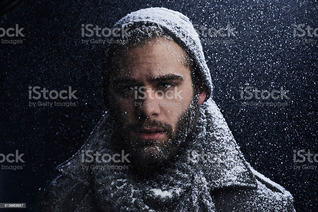 Sexy in snow stock photo