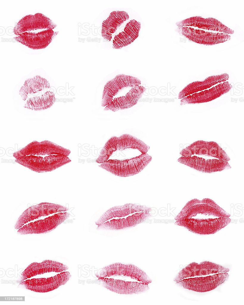 Sexy Kisses Lipstick Marks French Kiss stock photo