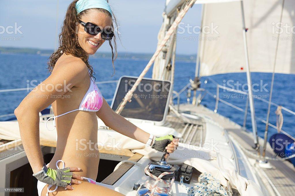 sexy lady sailor stock photo