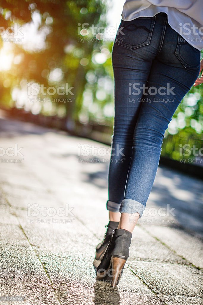 Sexy Legs In Jeans And High Heels stock photo 522539268   iStock