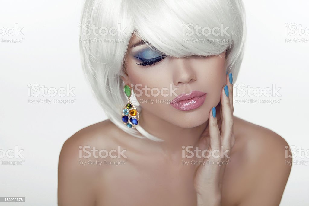 Sexy lips. Eye make-up. Fashion Beauty Girl Portrait with hair royalty-free stock photo