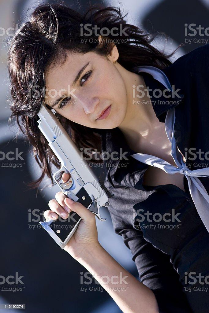 Sexy mafia girl royalty-free stock photo