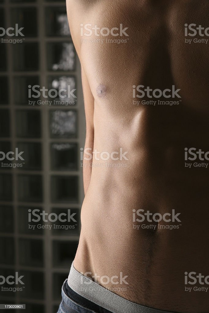 Sexy male body  Blue Jeans and Boxers stock photo