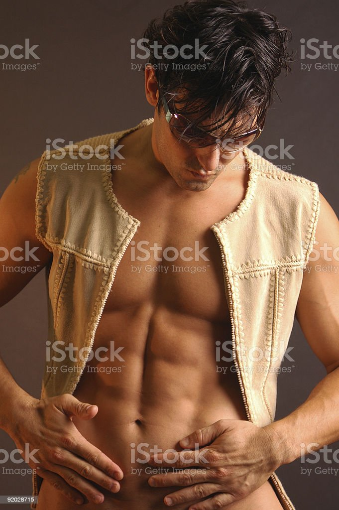 sexy male in leather vest royalty-free stock photo
