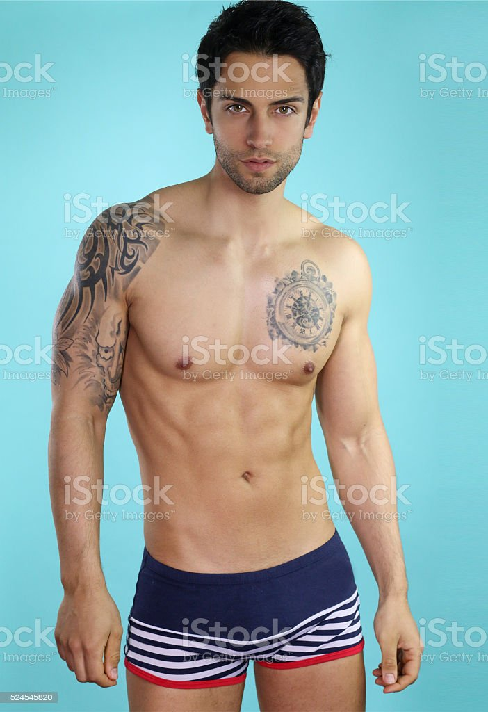 sexy male in swimsuit stock photo