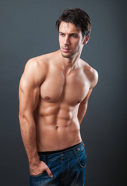 Naked Abdominal Muscle Male Men Pictures, Images and Stock