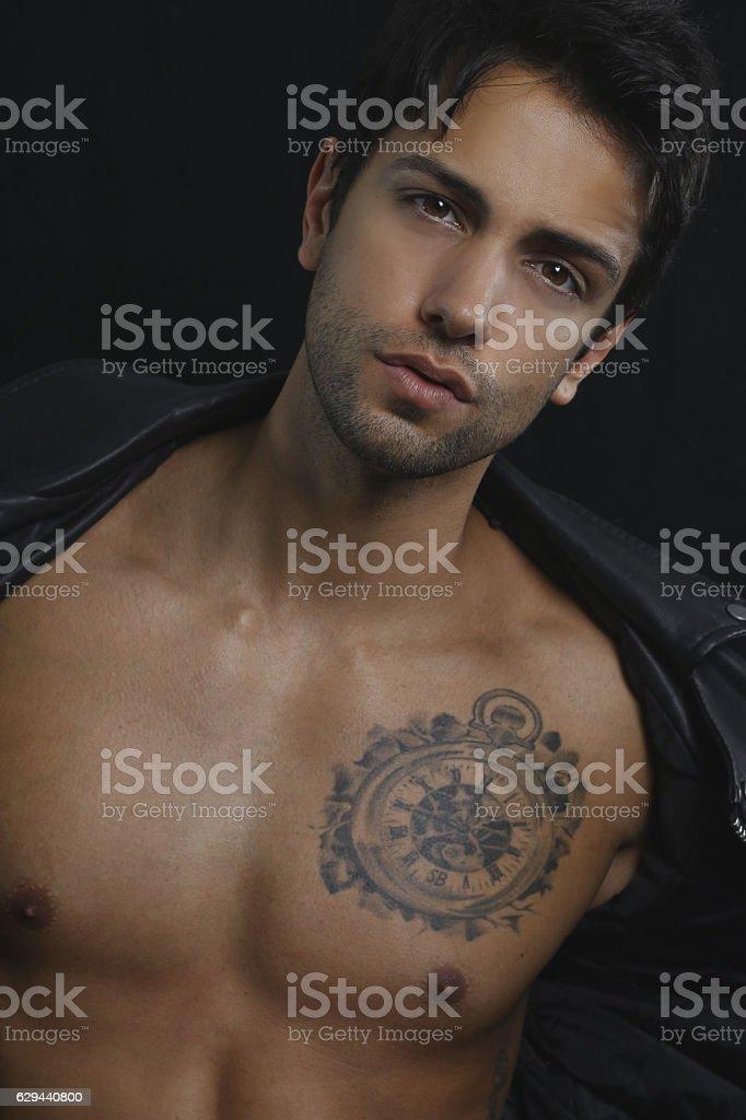 Sexy male model stock photo