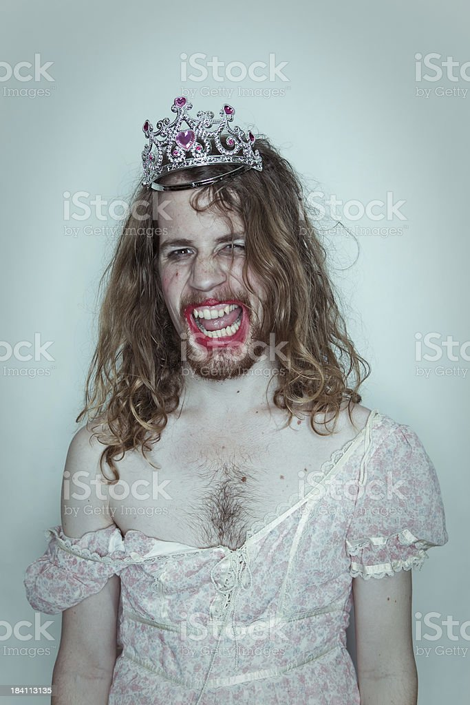 Sexy Male Prom queen in drag tiara on head lipstick stock photo