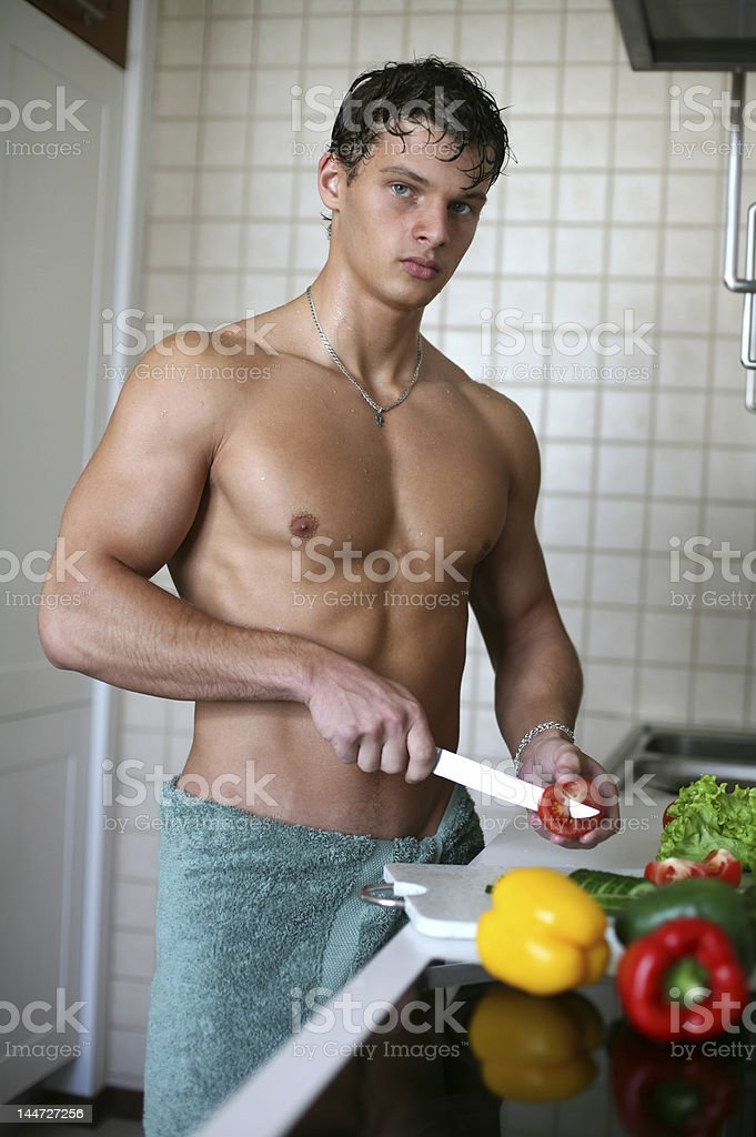 Sexy Man at the Kitchen royalty-free stock photo