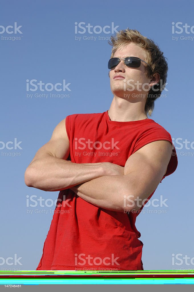 Sexy Man with a Green Towel royalty-free stock photo
