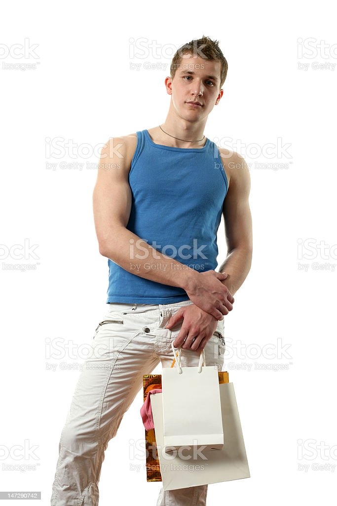 Sexy Man with Copy Space Shopping Bags royalty-free stock photo