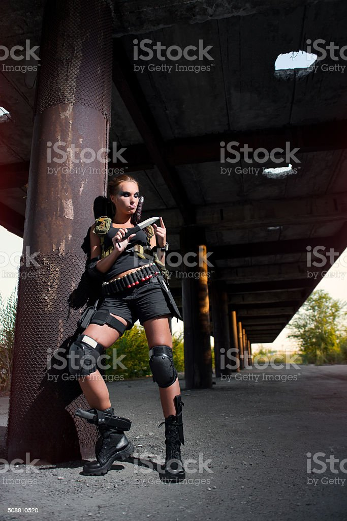 sexy military armed girl with the weapon, sniper stock photo