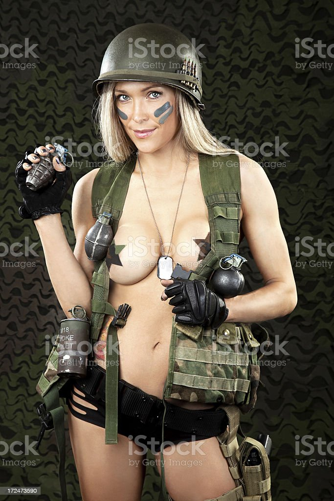 Sexy Military Woman with Vintage Helmet royalty-free stock photo