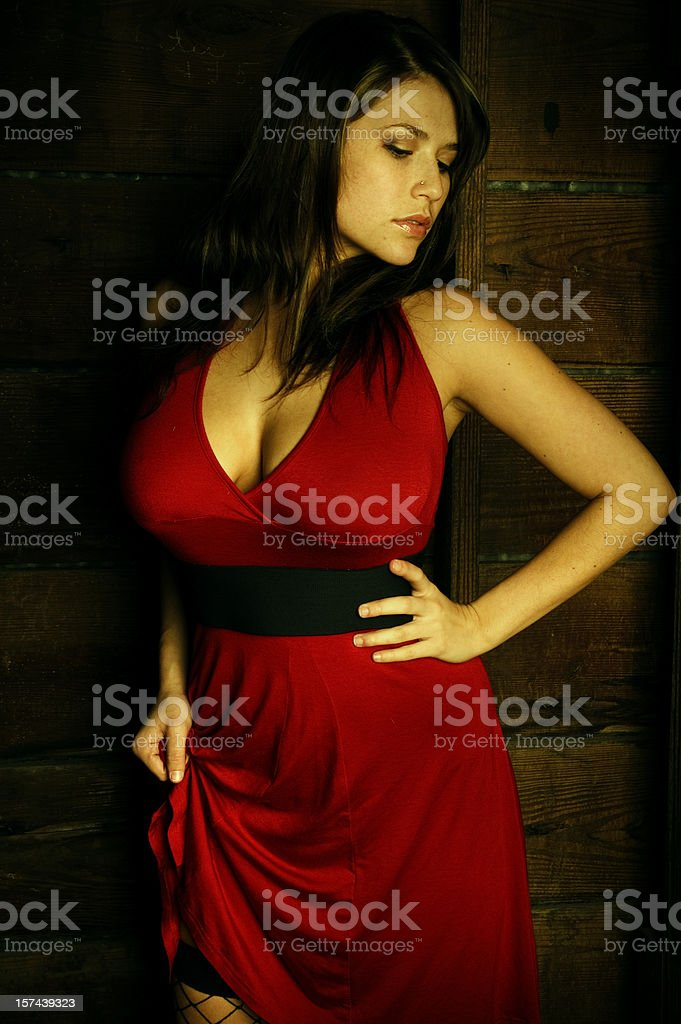 Sexy Model in Red Dress stock photo