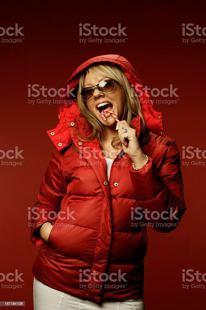 Sexy model in winter jacket royalty-free stock photo