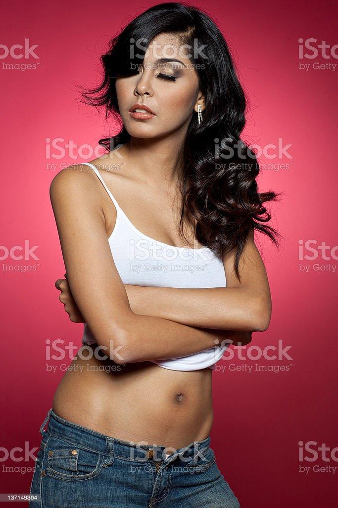 Sexy model undressing royalty-free stock photo