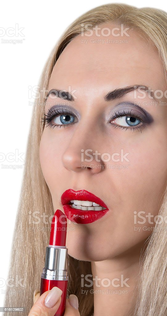 sexy model with bright red lips stock photo