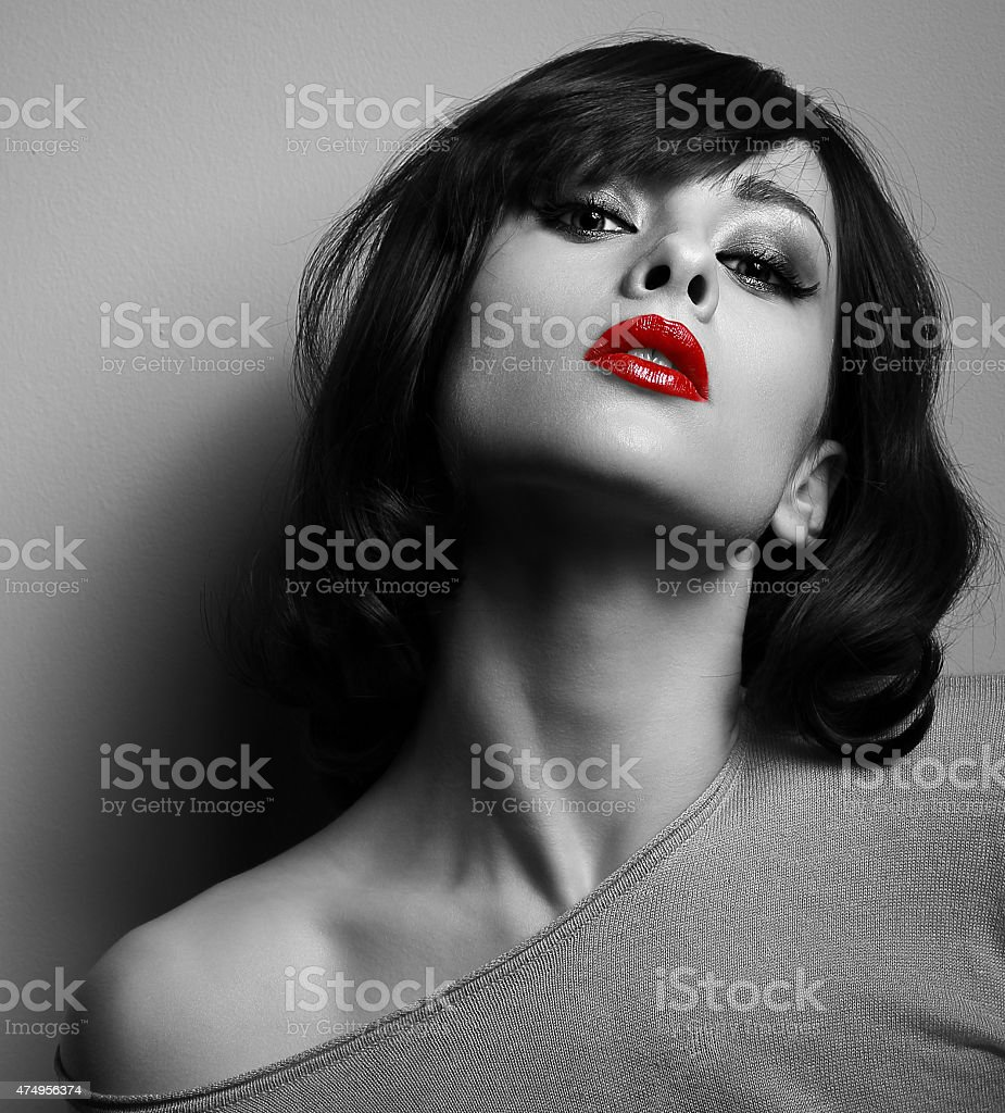 Sexy model with short hair style and red lips stock photo