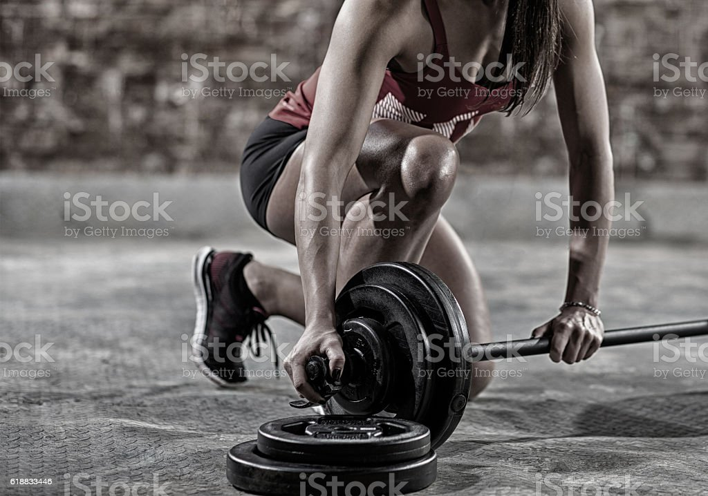 sexy muscular woman stock photo