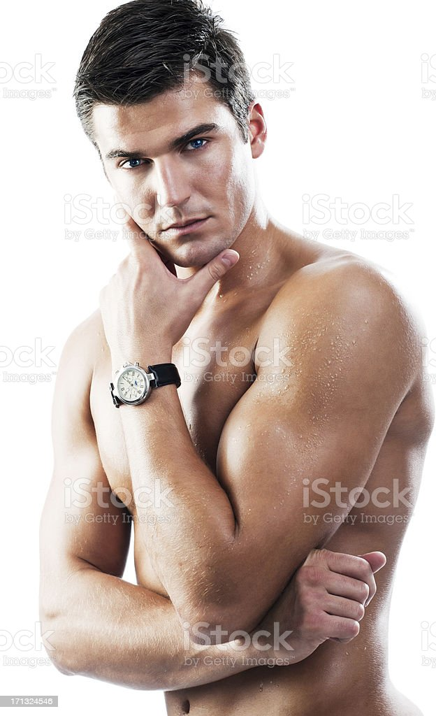 Sexy naked man wearing a watch. royalty-free stock photo