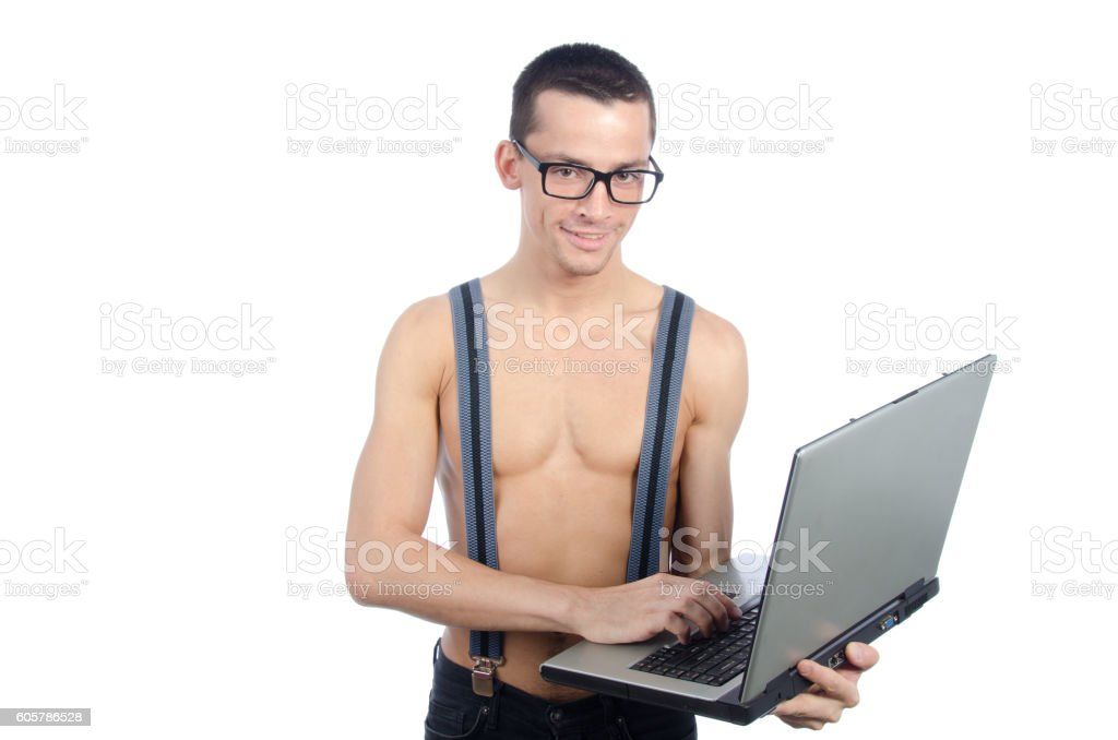 Sexy nerd with a laptop. stock photo