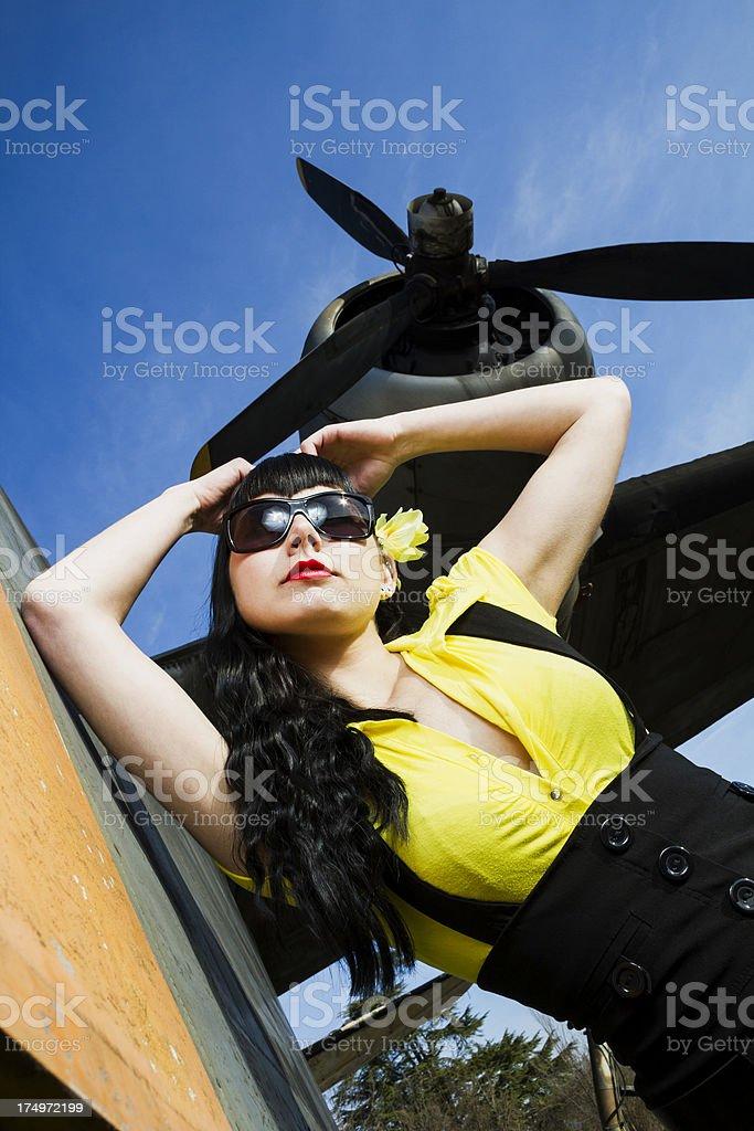 Sexy pin up stewardess stock photo