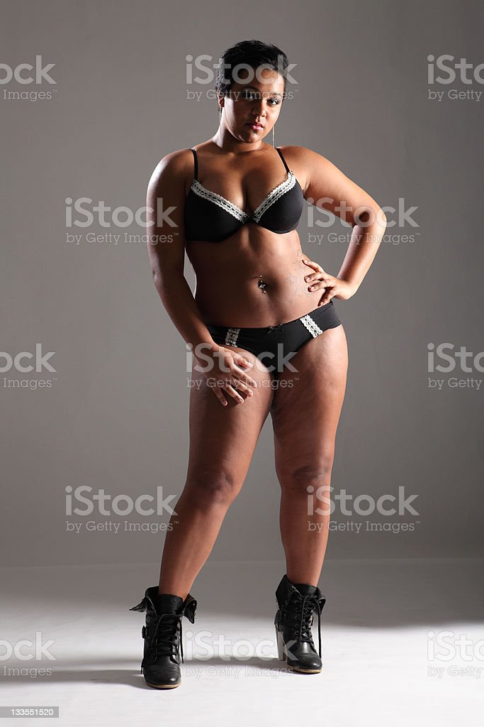Sexy plus size glamour model girl in lingerie stock photo