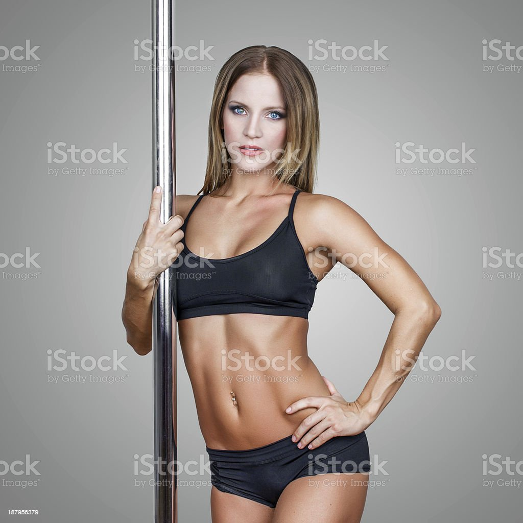 Sexy pole dancer royalty-free stock photo