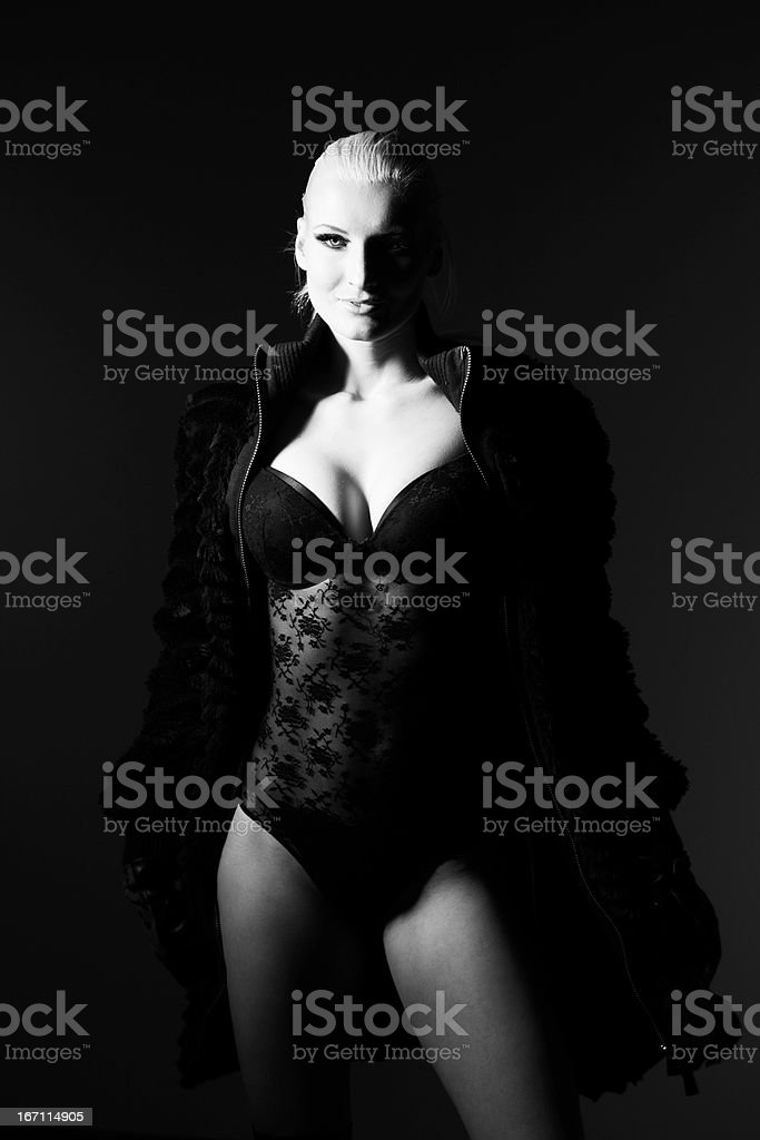 Sexy Provocative Blond Woman In Lingerie royalty-free stock photo