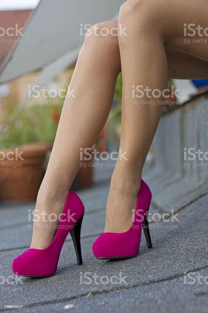 Sexy red leather high heel stiletto shoes stock photo