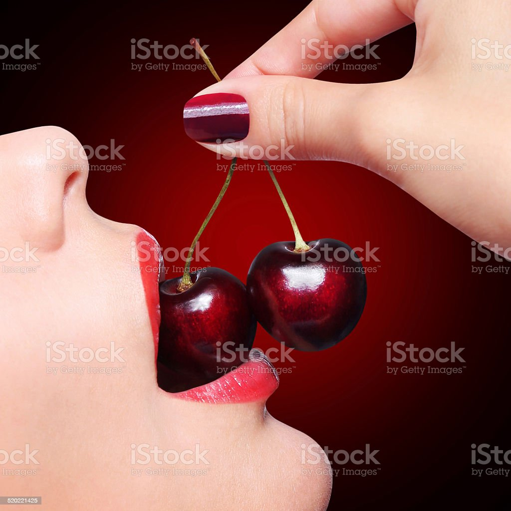 Sexy Red Lips with Cherry stock photo