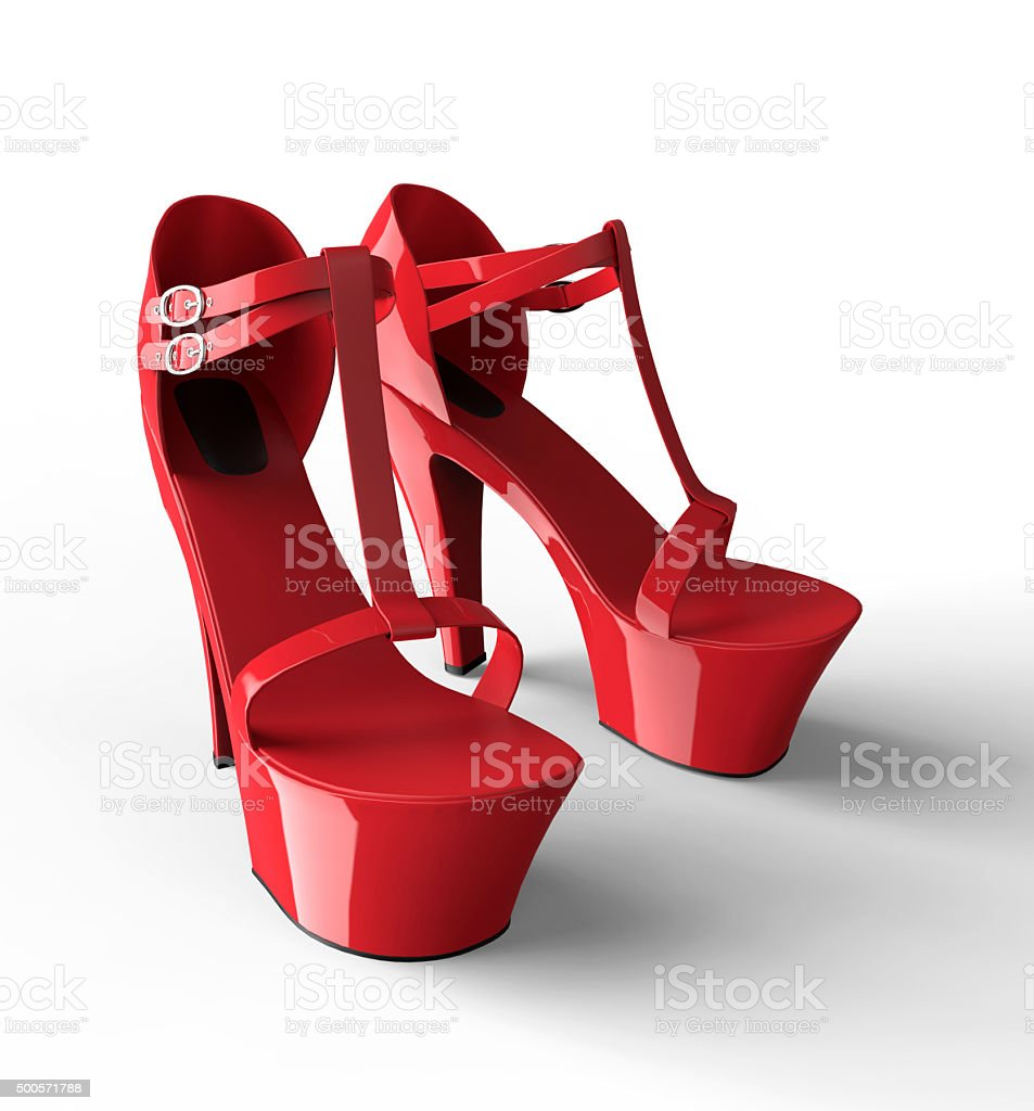 sexy red womens plateau shoe isolated on white stock photo