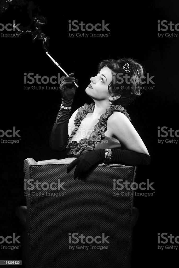 Sexy Retro Woman - Smoking stock photo